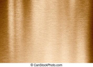 hintergrund, oder, kupfer, bronze, beschaffenheit, gebürstetes metall