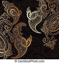 hintergrund., paisley, ornament., hand, gezeichnet