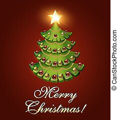 hintergrund, postkarte, weihnachten, mit, a, baum, und, a, brennender, stern