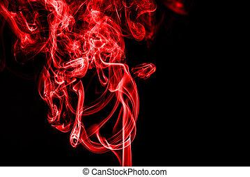 hintergrund, raum, schwarzer rauch, kopie, rotes
