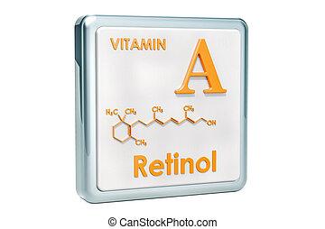 hintergrund., retinol., a, vitamin, chemische , übertragung, formel, ikone, weißes, molekulare struktur, 3d
