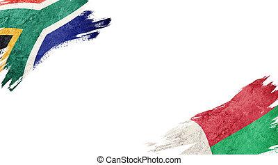 hintergrund, südafrika, flaggen, weißes, and?madagascar