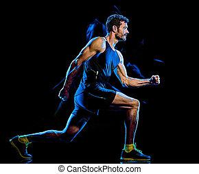 hintergrund, schwarz, kampf, koerper, übung, cardio, boxen, mann, fitness, freigestellt