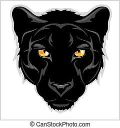 hintergrund., schwarz, -, weißes, panther