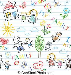 hintergrund, -, seamless, familie, glücklich