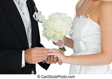 hintergrund, seine, setzen, bräutigam, ring, finger, wedding...