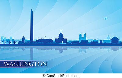 hintergrund, skyline, stadt, washington silhouette