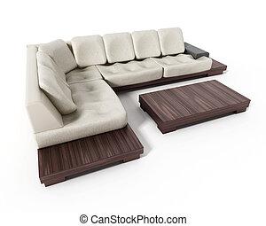 hintergrund., sofa, modern, freigestellt, abbildung, elegant, weißes, 3d