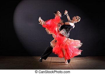 hintergrund, tänzer, schwarz, freigestellt, tanzsaal