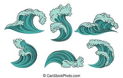 hintergrund., türkis, vektor, abbildung, meer, satz, waves., weißes
