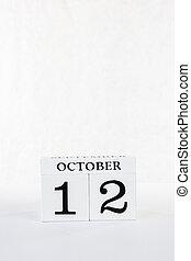 hintergrund, tag, weißes, kalender, ikone, oktober, 2020, columbus, 12