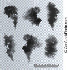 hintergrund., vectors, rauchwolken, durchsichtig