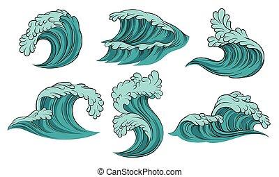 hintergrund., vektor, abbildung, meer, satz, waves., weißes