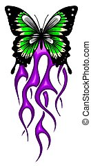 hintergrund, vektor, design, illustratio, feurig, papillon