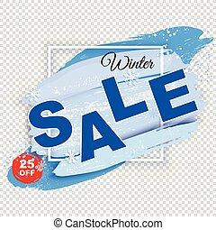 hintergrund., verkauf, banner., schatten, quadrat, weißes, rahmen, winter, blots, durchsichtig, pulverschnee, blaues