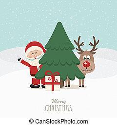 hintergrund, verschneiter , baum, rentier, hinten, santa, weihnachten