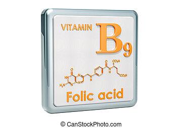 hintergrund., vitamin, folic, chemische , übertragung, b9, formel, acid., ikone, weißes, molekulare struktur, 3d