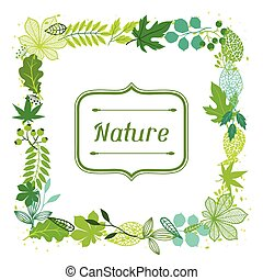 hintergrund, von, stilisiert, grün, leaves.