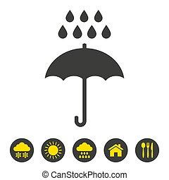 hintergrund., weißer schirm, regen, ikone