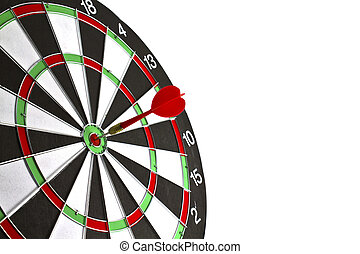 hintergrund., weißes, dartboard, wurfpfeil