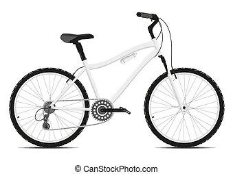 hintergrund., weißes, fahrrad, vector.