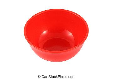 hintergrund., weißes, schüssel, rotes , plastik