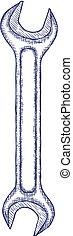 hintergrund., weißes, vektor, freigestellt, maulschlüssel