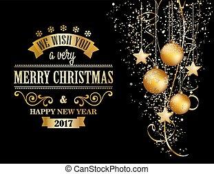 hintergrund, weihnachten, gold, baubles