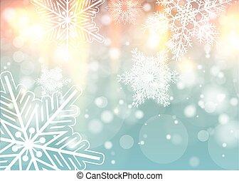 hintergrund, weihnachten, schneeflocken