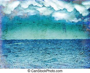 hintergrund, wolkenhimmel, seascape., dunkel, weinlese, ...