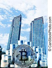 hintergrund, zentrieren, geschaeftswelt, bitcoin