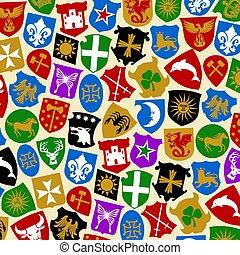 hintergrundmuster, mit, wappen, sammlung, (heraldry, design)