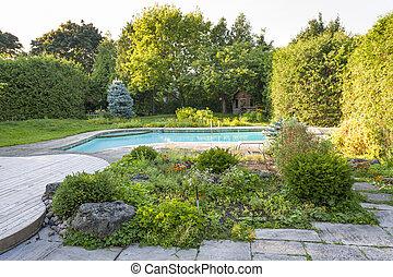 hinterhof, kleingarten, teich, schwimmender