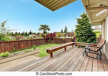 hinterhof, walkout, zugewandt, deck