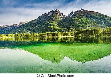 Hintersee lake in Alps at dawn, Germany, Europe