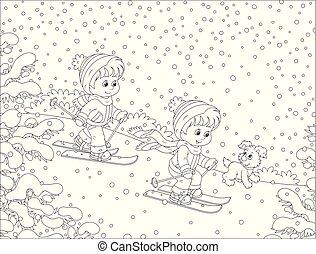 hinunter hügel fahrend ski, klein, schnee, kinder