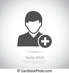 hinzufügen, vektor, contact., freund, ikone