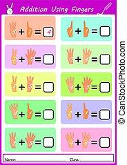 Symbole, kinder, mathe. Gegen, kinder, blackboard., symbole, knaben ...