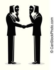 hipócrita, conceito, acordo