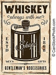 Hip flask for whiskey vintage vector poster