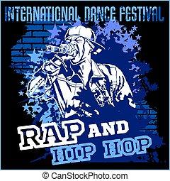 hip hop, ポスター, -, ベクトル, 落書き, コツコツという音