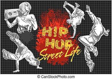 Hip hop and break dancers on dark background