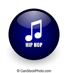 Hip hop blue glossy ball web icon on white background. Round 3d render button.