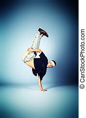 hip hop boy - Young man dancing hip-hop at studio.