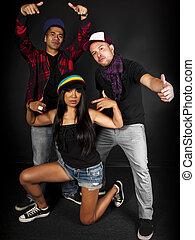 Hip Hop Crew - hip hop dance crew on a black background