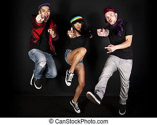 Hip Hop Crew - hip hop dancer on a black background