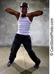 Hip Hop Dance Choreography - Muscular black man posing hip...
