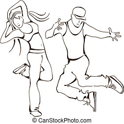 hip-hop dance, set icon people, vector illustration
