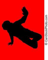 hip hop dancer - a female dancer on red background