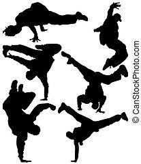 hip hop dancer - Silhouette of sequence of hip hop dancer,...